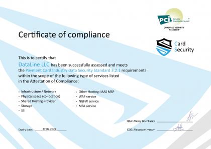 PCI DSS v. 3.2.1 compliance certificate: cloud services